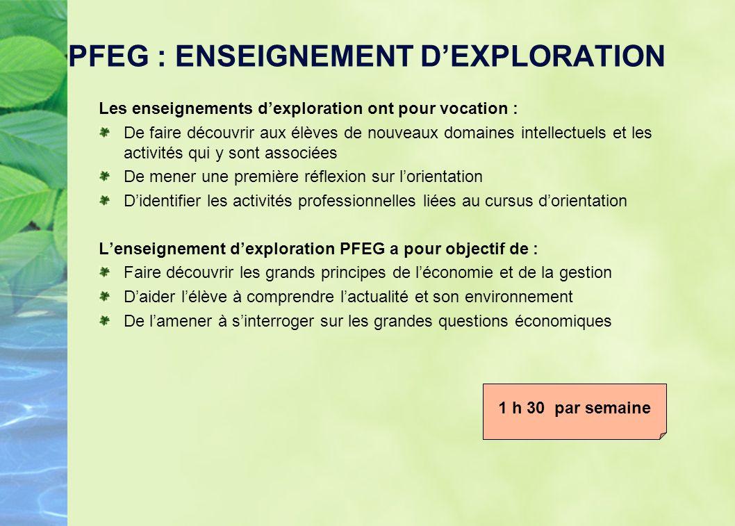 PFEG : ENSEIGNEMENT DEXPLORATION Les enseignements dexploration ont pour vocation : De faire découvrir aux élèves de nouveaux domaines intellectuels e