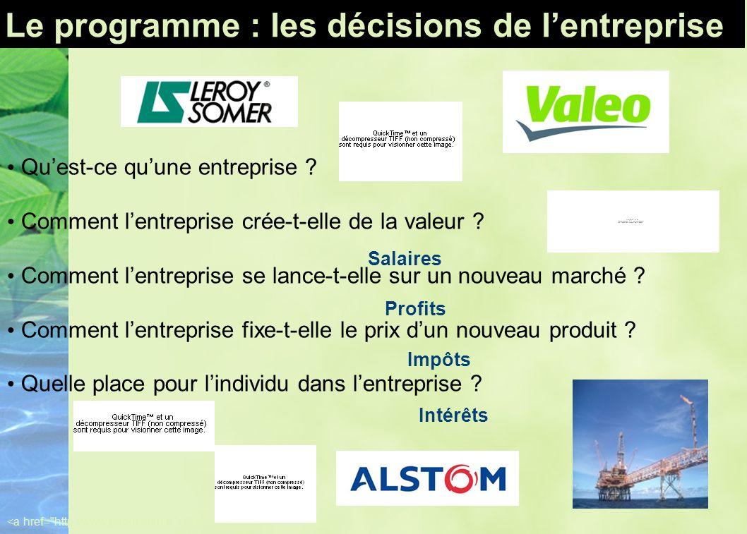 Le programme : les décisions de lentreprise Quest-ce quune entreprise ? Comment lentreprise crée-t-elle de la valeur ? Comment lentreprise se lance-t-