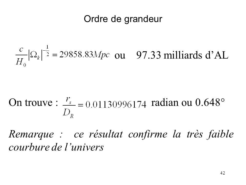 42 Ordre de grandeur ou 97.33 milliards dAL On trouve : radian ou 0.648° Remarque : ce résultat confirme la très faible courbure de lunivers