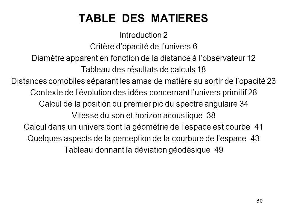 50 TABLE DES MATIERES Introduction 2 Critère dopacité de lunivers 6 Diamètre apparent en fonction de la distance à lobservateur 12 Tableau des résulta