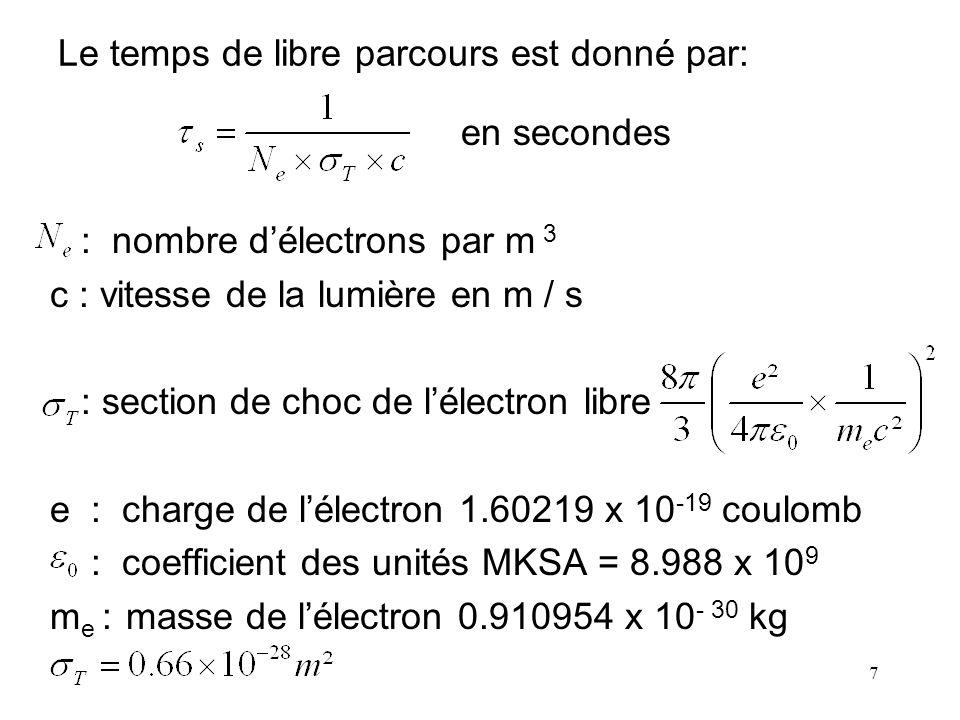 7 Le temps de libre parcours est donné par: en secondes : nombre délectrons par m 3 c : vitesse de la lumière en m / s : section de choc de lélectron