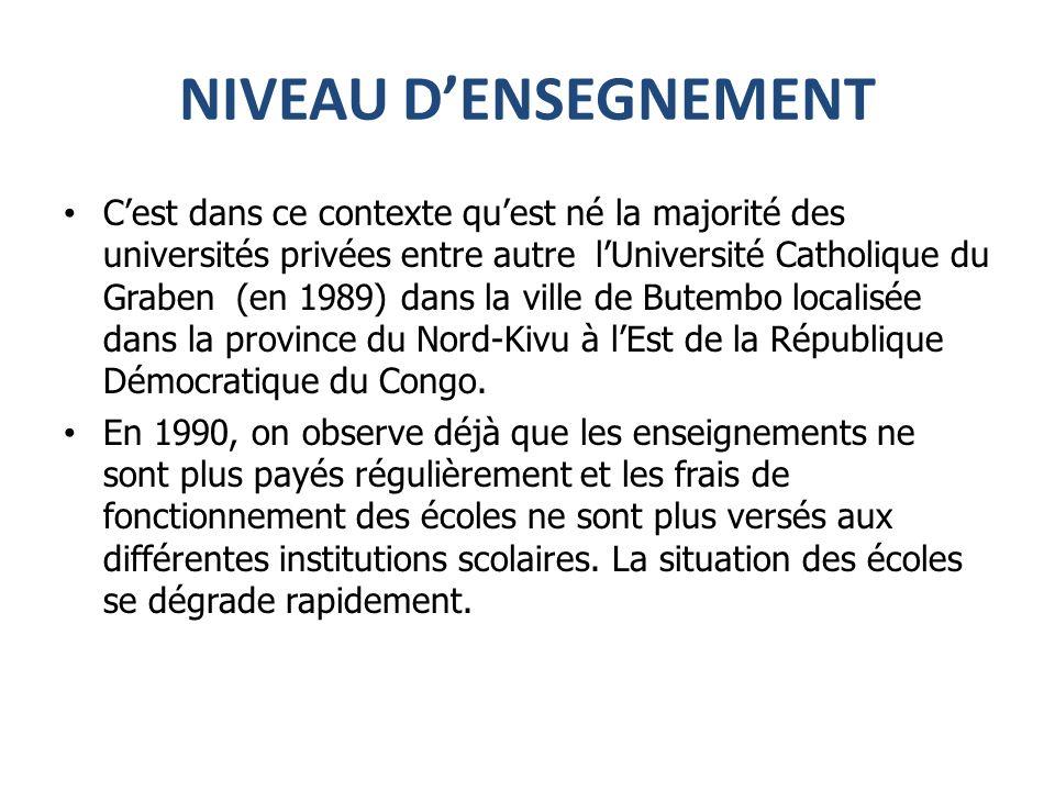 NIVEAU DENSEGNEMENT Cest dans ce contexte quest né la majorité des universités privées entre autre lUniversité Catholique du Graben (en 1989) dans la ville de Butembo localisée dans la province du Nord-Kivu à lEst de la République Démocratique du Congo.