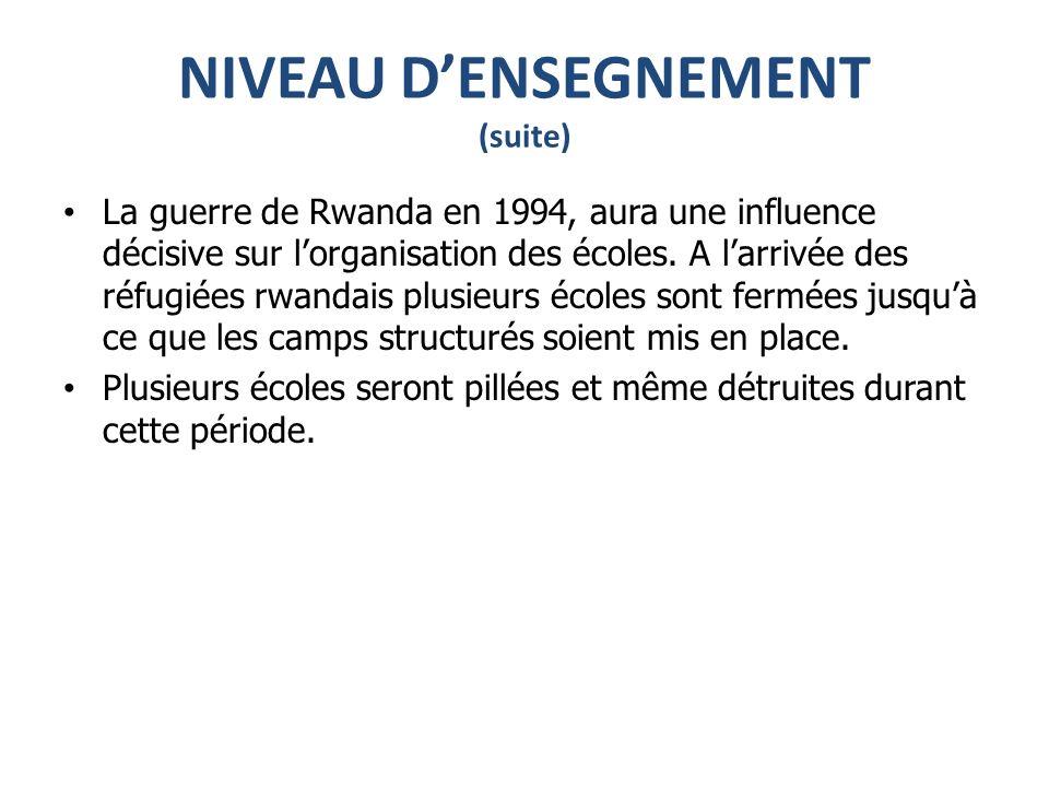 NIVEAU DENSEGNEMENT (suite) La guerre de Rwanda en 1994, aura une influence décisive sur lorganisation des écoles.