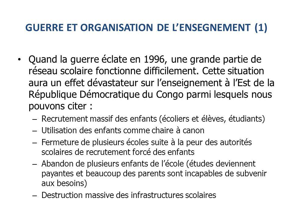 GUERRE ET ORGANISATION DE LENSEGNEMENT (1) Quand la guerre éclate en 1996, une grande partie de réseau scolaire fonctionne difficilement.