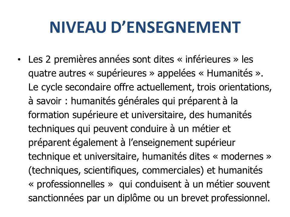 NIVEAU DENSEGNEMENT Les 2 premières années sont dites « inférieures » les quatre autres « supérieures » appelées « Humanités ».