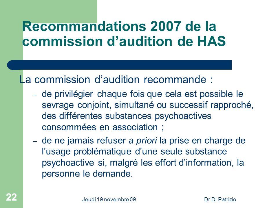 Jeudi 19 novembre 09Dr Di Patrizio 22 Recommandations 2007 de la commission daudition de HAS La commission daudition recommande : – de privilégier cha