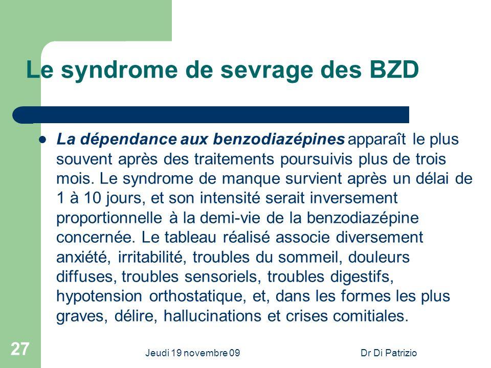 Jeudi 19 novembre 09Dr Di Patrizio 27 Le syndrome de sevrage des BZD La dépendance aux benzodiazépines apparaît le plus souvent après des traitements