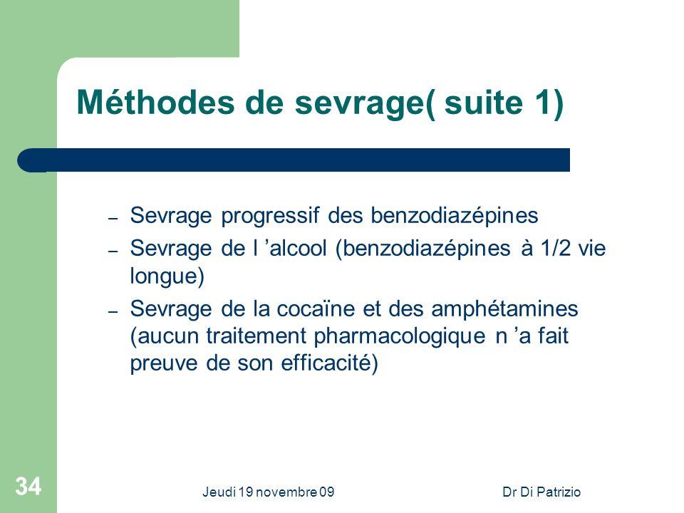 Jeudi 19 novembre 09Dr Di Patrizio 34 Méthodes de sevrage( suite 1) – Sevrage progressif des benzodiazépines – Sevrage de l alcool (benzodiazépines à
