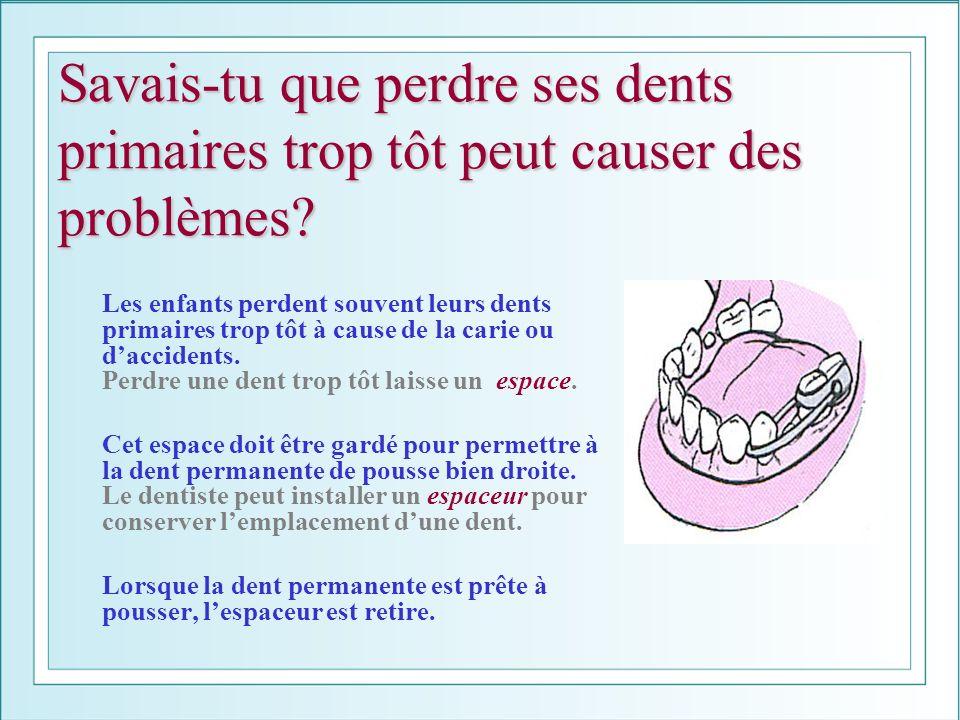 Savais-tu que perdre ses dents primaires trop tôt peut causer des problèmes? Les enfants perdent souvent leurs dents primaires trop tôt à cause de la