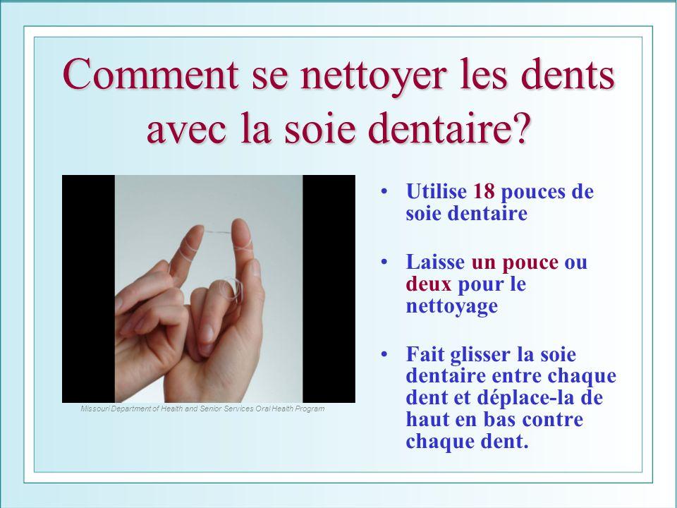 Comment se nettoyer les dents avec la soie dentaire? Utilise 18 pouces de soie dentaire Laisse un pouce ou deux pour le nettoyage Fait glisser la soie