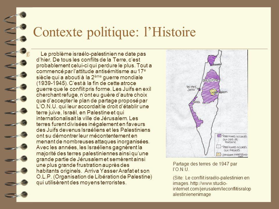 Contexte politique: lHistoire 4 Le problème israélo-palestinien ne date pas dhier.