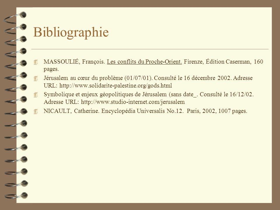 Bibliographie 4 MASSOULIÉ, François. Les conflits du Proche-Orient.