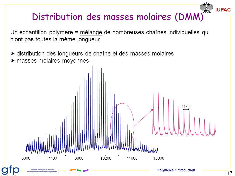 Polymères / Introduction IUPAC 17 Un échantillon polymère = mélange de nombreuses chaînes individuelles qui n ont pas toutes la même longueur distribution des longueurs de chaîne et des masses molaires masses molaires moyennes 600074008800102001160013000 114,1 Distribution des masses molaires (DMM)