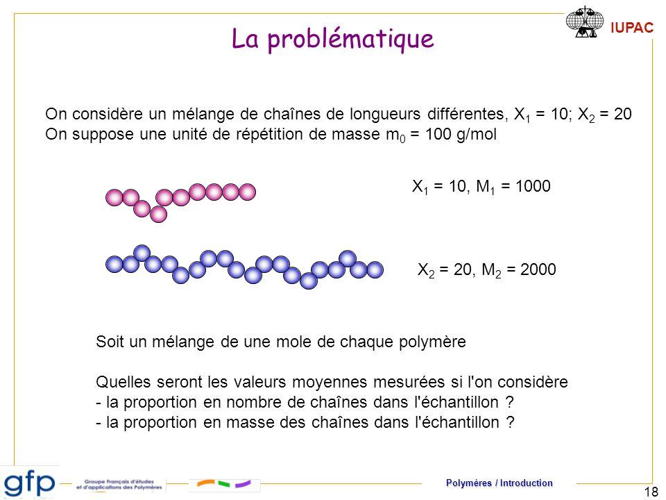 Polymères / Introduction IUPAC 18 On considère un mélange de chaînes de longueurs différentes, X 1 = 10; X 2 = 20 On suppose une unité de répétition d