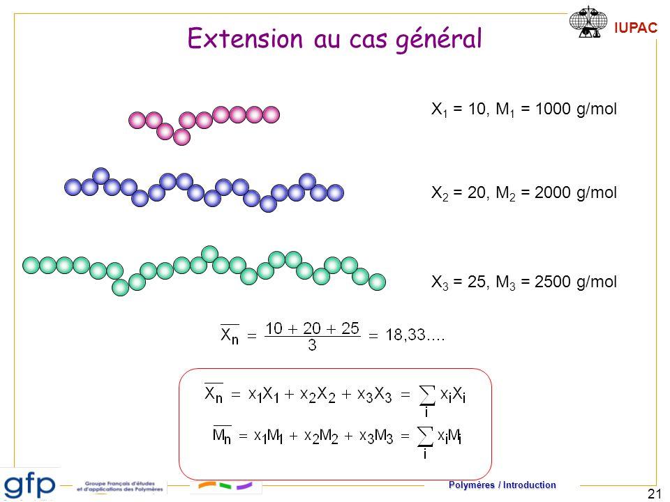 Polymères / Introduction IUPAC 21 X 1 = 10, M 1 = 1000 g/mol X 2 = 20, M 2 = 2000 g/mol X 3 = 25, M 3 = 2500 g/mol Extension au cas général