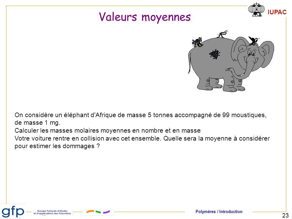 Polymères / Introduction IUPAC 23 Valeurs moyennes On considère un éléphant d Afrique de masse 5 tonnes accompagné de 99 moustiques, de masse 1 mg.