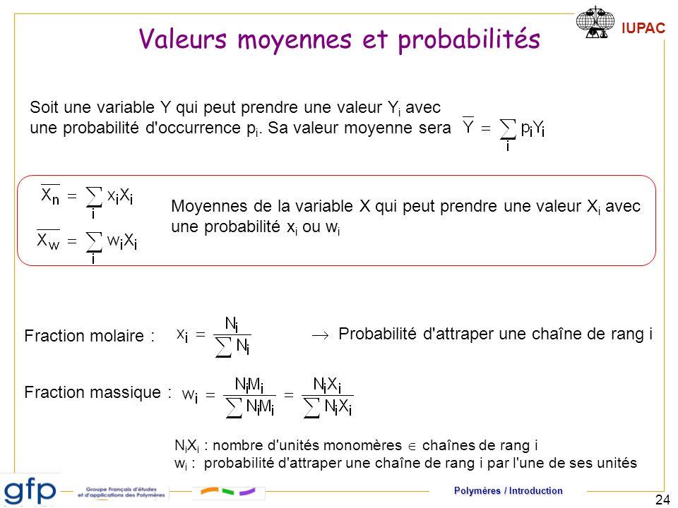 Polymères / Introduction IUPAC 24 Fraction molaire : Fraction massique : Probabilité d attraper une chaîne de rang i N i X i : nombre d unités monomères chaînes de rang i w i : probabilité d attraper une chaîne de rang i par l une de ses unités Soit une variable Y qui peut prendre une valeur Y i avec une probabilité d occurrence p i.