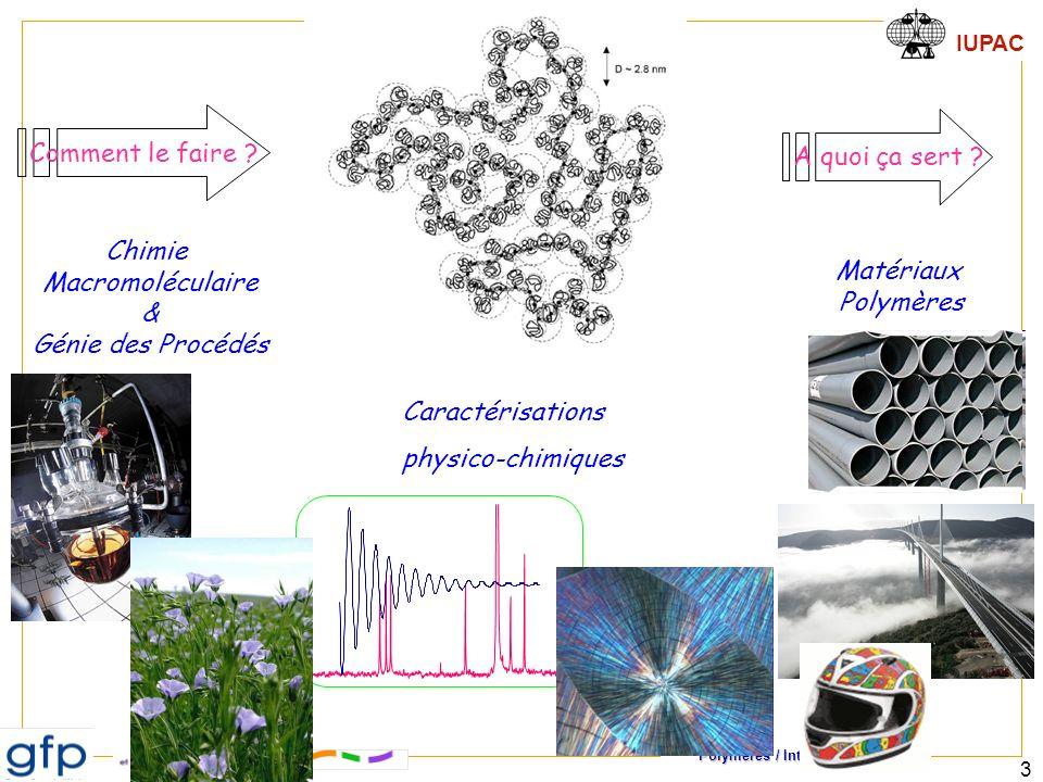 Polymères / Introduction IUPAC 3 Chimie Macromoléculaire & Génie des Procédés Matériaux Polymères A quoi ça sert ? Comment le faire ? Caractérisations