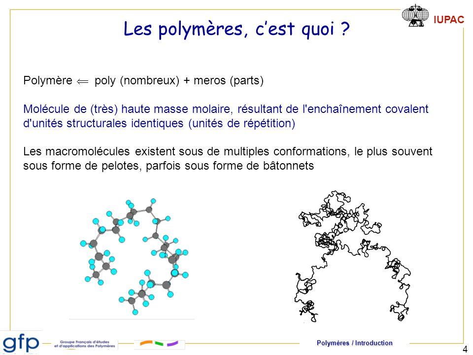 Polymères / Introduction IUPAC 4 Les polymères, cest quoi ? Polymère poly (nombreux) + meros (parts) Molécule de (très) haute masse molaire, résultant