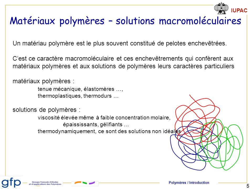 Polymères / Introduction IUPAC 5 Matériaux polymères – solutions macromoléculaires Un matériau polymère est le plus souvent constitué de pelotes enche
