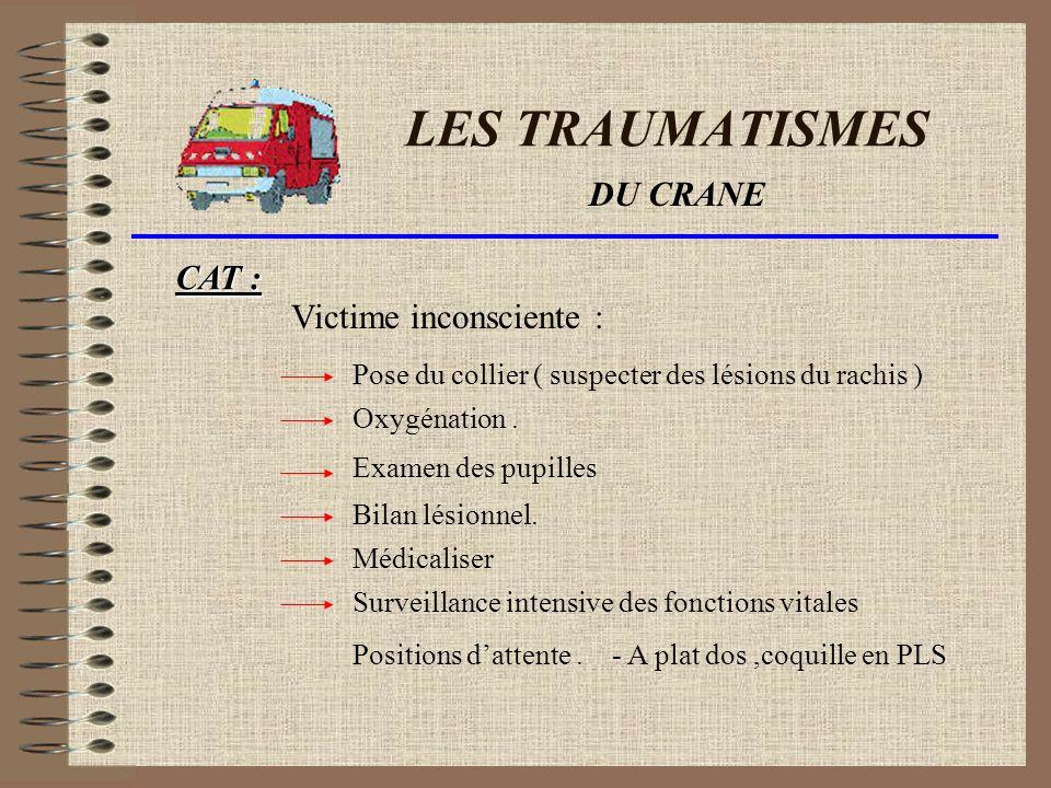 LES TRAUMATISMES État anormal du comportement de la victime.