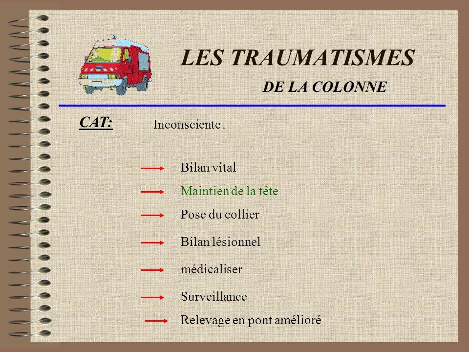 LES TRAUMATISMES DE LA COLONNE Signes de gravité dun trauma de la colonne : Incapacité de mobilisation Insensibilité des membres.