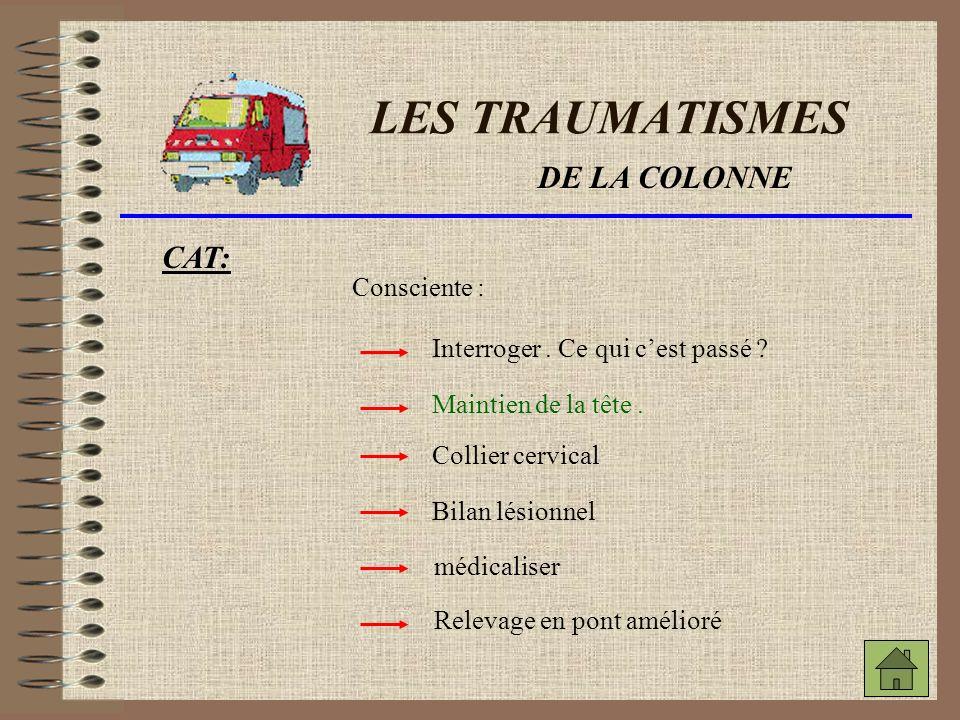 LES TRAUMATISMES DE LA COLONNE CAT: Inconsciente.