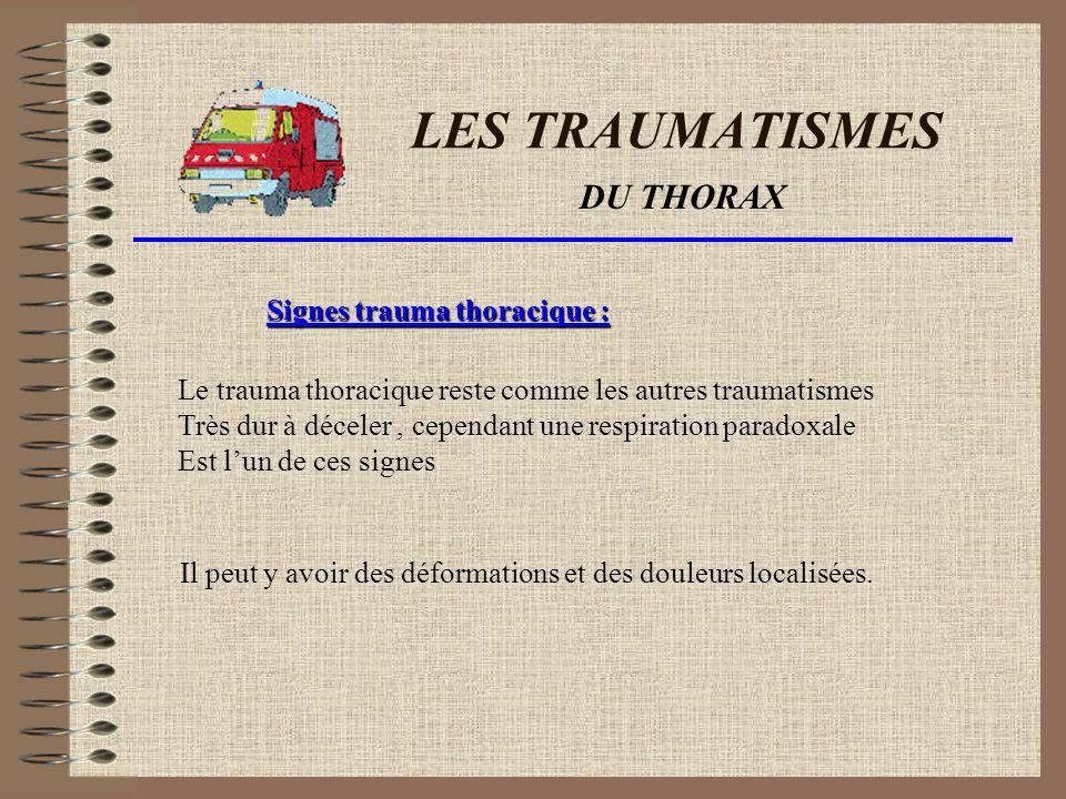 LES TRAUMATISMES DU THORAX Scénario du trauma: Lors dun trauma thoracique, il peut se produire une ou plusieurs fractures de côtes.celles-ci pourraient de par leurs localisation percer un organe (les poumons par exemple)