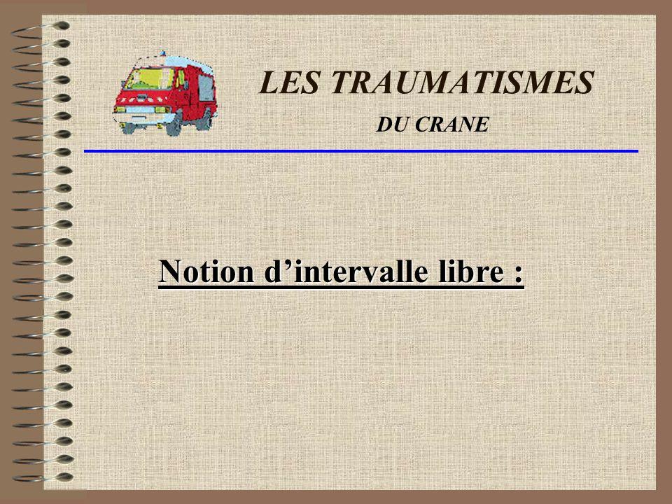 LES TRAUMATISMES Notion dintervalle libre : DU CRANE