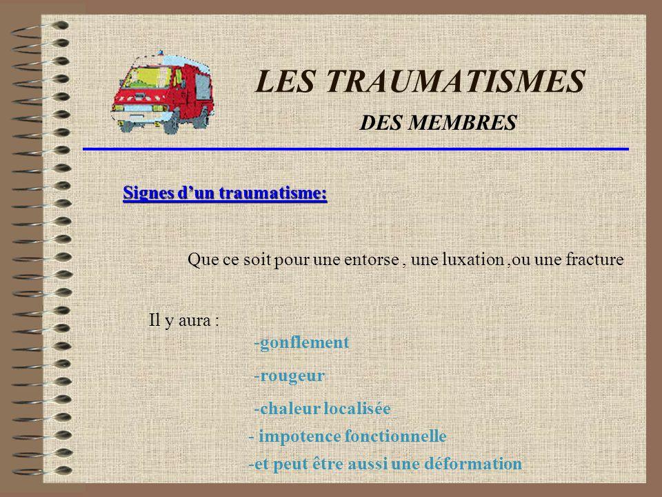 LES TRAUMATISMES DES MEMBRES Scénario du trauma : Lors dun trauma des membres,il peut se produire une entorse Une luxation ou une fracture.