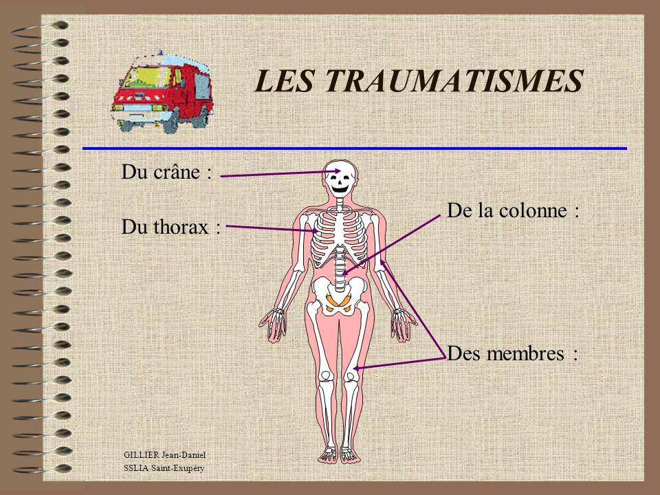 LES TRAUMATISMES Encéphale : Cerveau (siège de la mémoire et de lintelligence) Cervelet (siège de léquilibre et de la coordination ) Bulbe (centre de régulation de la respiration et de la circulation) DU CRANE