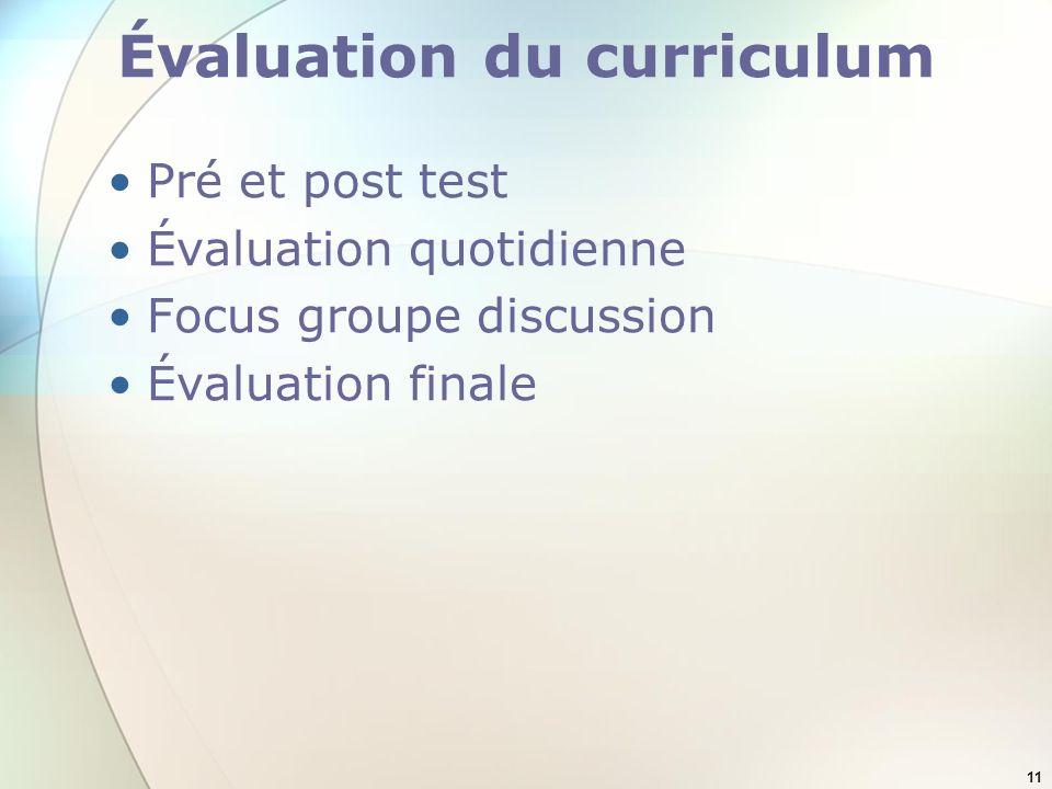 11 Évaluation du curriculum Pré et post test Évaluation quotidienne Focus groupe discussion Évaluation finale