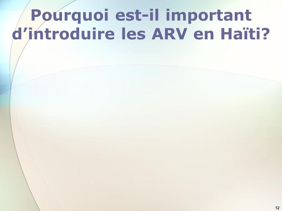 12 Pourquoi est-il important dintroduire les ARV en Haïti?