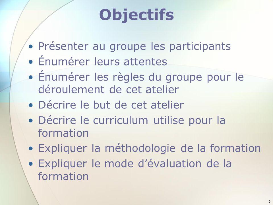 2 Objectifs Présenter au groupe les participants Énumérer leurs attentes Énumérer les règles du groupe pour le déroulement de cet atelier Décrire le b