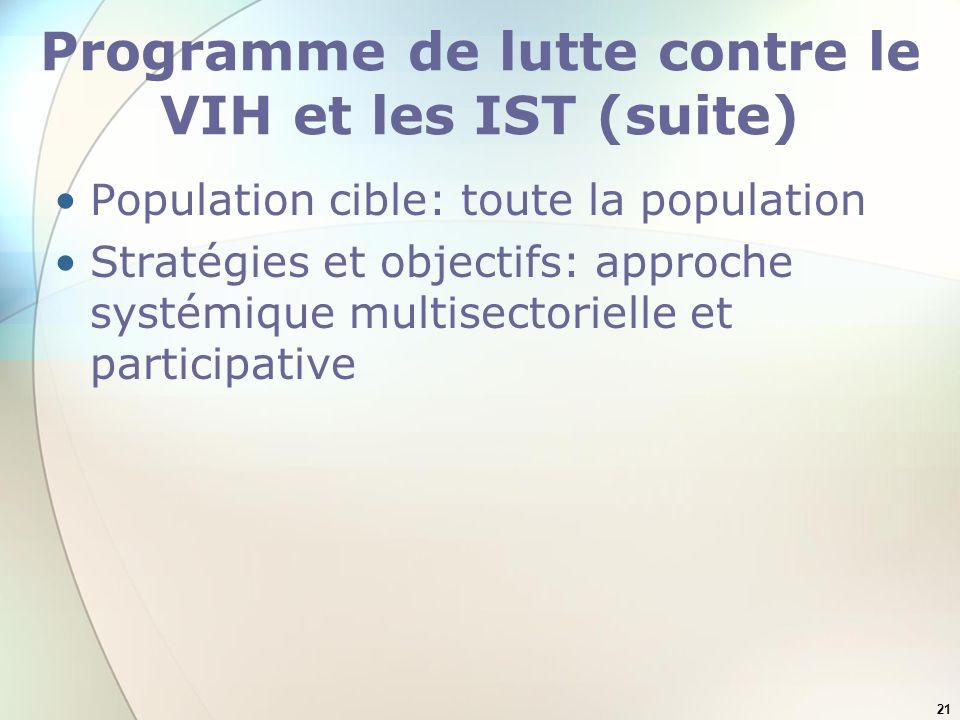 21 Programme de lutte contre le VIH et les IST (suite) Population cible: toute la population Stratégies et objectifs: approche systémique multisectori
