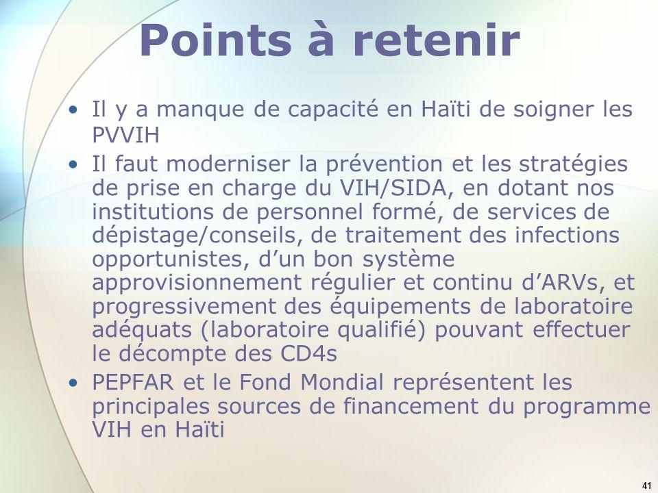 41 Points à retenir Il y a manque de capacité en Haïti de soigner les PVVIH Il faut moderniser la prévention et les stratégies de prise en charge du V