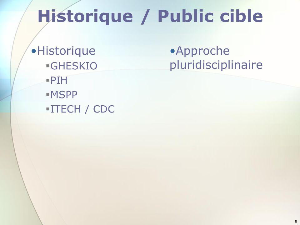 9 Historique / Public cible Historique GHESKIO PIH MSPP ITECH / CDC Approche pluridisciplinaire