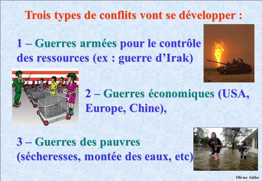 Trois types de conflits vont se développer : 1 – Guerres armées pour le contrôle des ressources (ex : guerre dIrak) 3 – Guerres des pauvres (sécheress