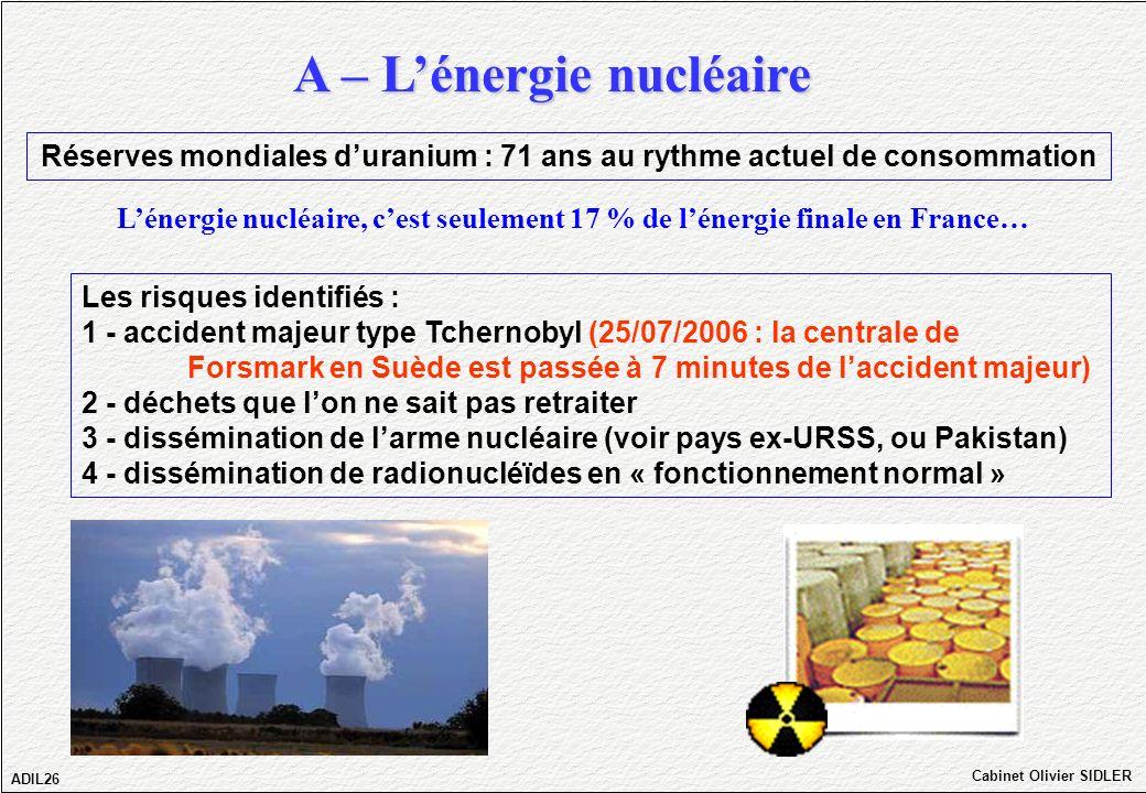 A – Lénergie nucléaire ADIL26 Cabinet Olivier SIDLER Les risques identifiés : 1 - accident majeur type Tchernobyl (25/07/2006 : la centrale de Forsmar