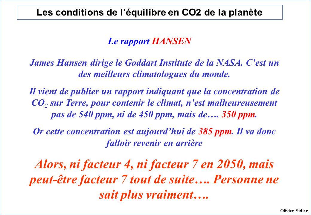 Les conditions de léquilibre en CO2 de la planète James Hansen dirige le Goddart Institute de la NASA. Cest un des meilleurs climatologues du monde. I