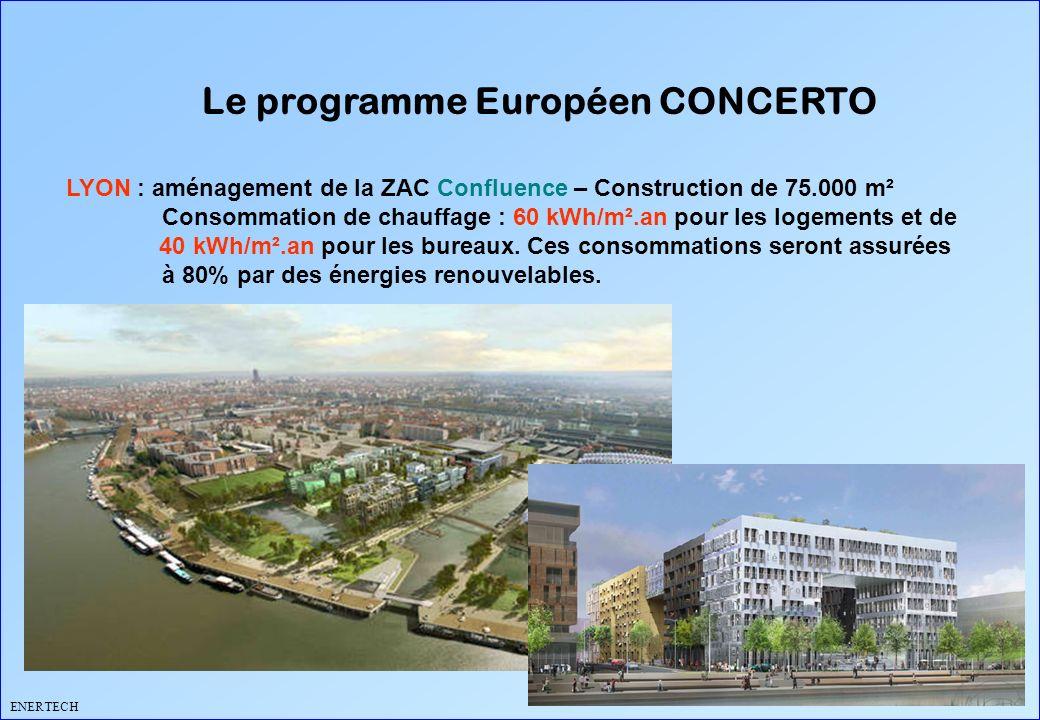 Le programme Européen CONCERTO ENERTECH LYON : aménagement de la ZAC Confluence – Construction de 75.000 m² Consommation de chauffage : 60 kWh/m².an p