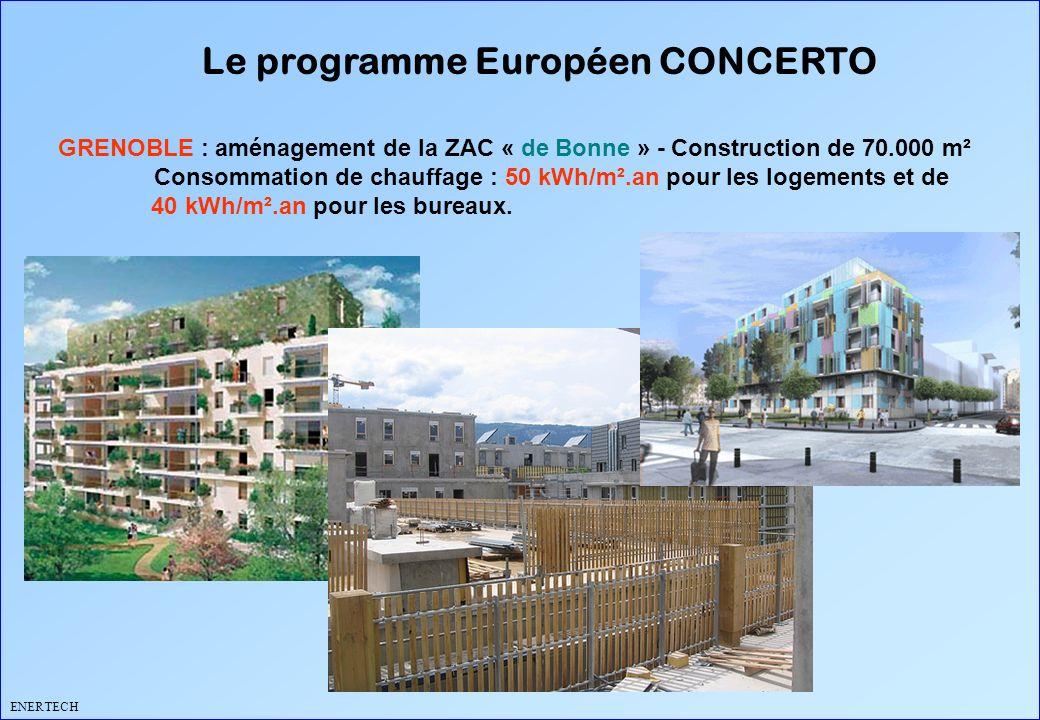 Le programme Européen CONCERTO ENERTECH GRENOBLE : aménagement de la ZAC « de Bonne » - Construction de 70.000 m² Consommation de chauffage : 50 kWh/m