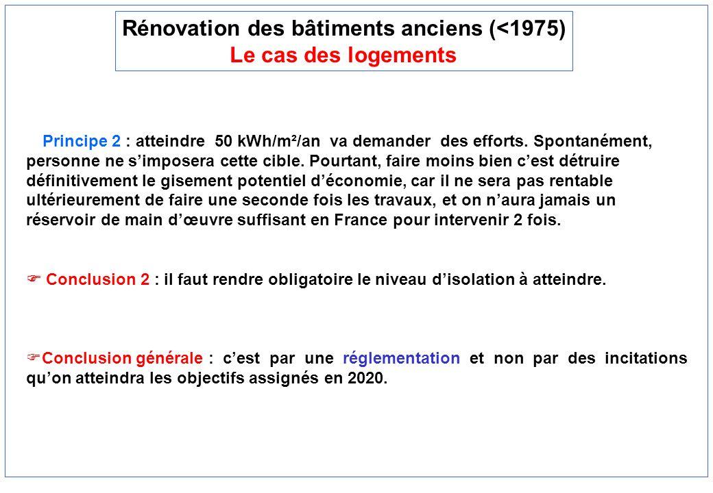 Rénovation des bâtiments anciens (<1975) Le cas des logements Principe 2 : atteindre 50 kWh/m²/an va demander des efforts. Spontanément, personne ne s