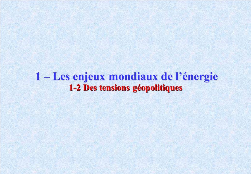 1-2 Des tensions géopolitiques 1 – Les enjeux mondiaux de lénergie