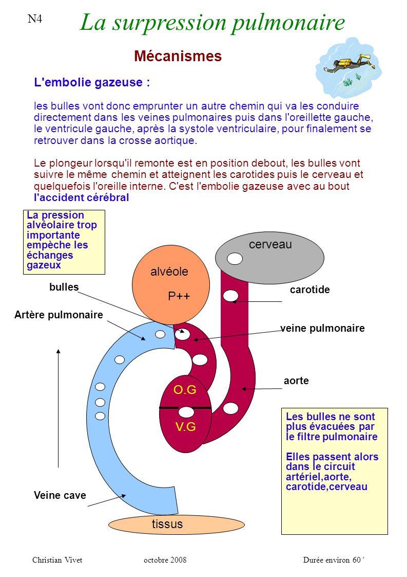 N4 La surpression pulmonaire Christian Vivetoctobre 2008Durée environ 60 Les facteurs déclenchants Les circonstances concrètes : Un blocage de la respiration,exemple réel : un plongeur manque d air au fond, il remonte en apnée jusqu à la perte de conscience, sa ventilation s arrête, en surface il présente un début de S.P, sang dans l estomac, Un spasme réflexe de la glotte par entrée d eau dans le nez Un VALSALVA à la remontée, vous pincez votre nez durant la remontée car vos oreilles vous gènent, ceci va augmenter la pression alvéolaire avec le risque de bloquer les échanges gazeux, le schéma précédent devient alors bien réel,il s agit de l hyperpression pulmonaire Un problème lié à une pathologie de la personne.