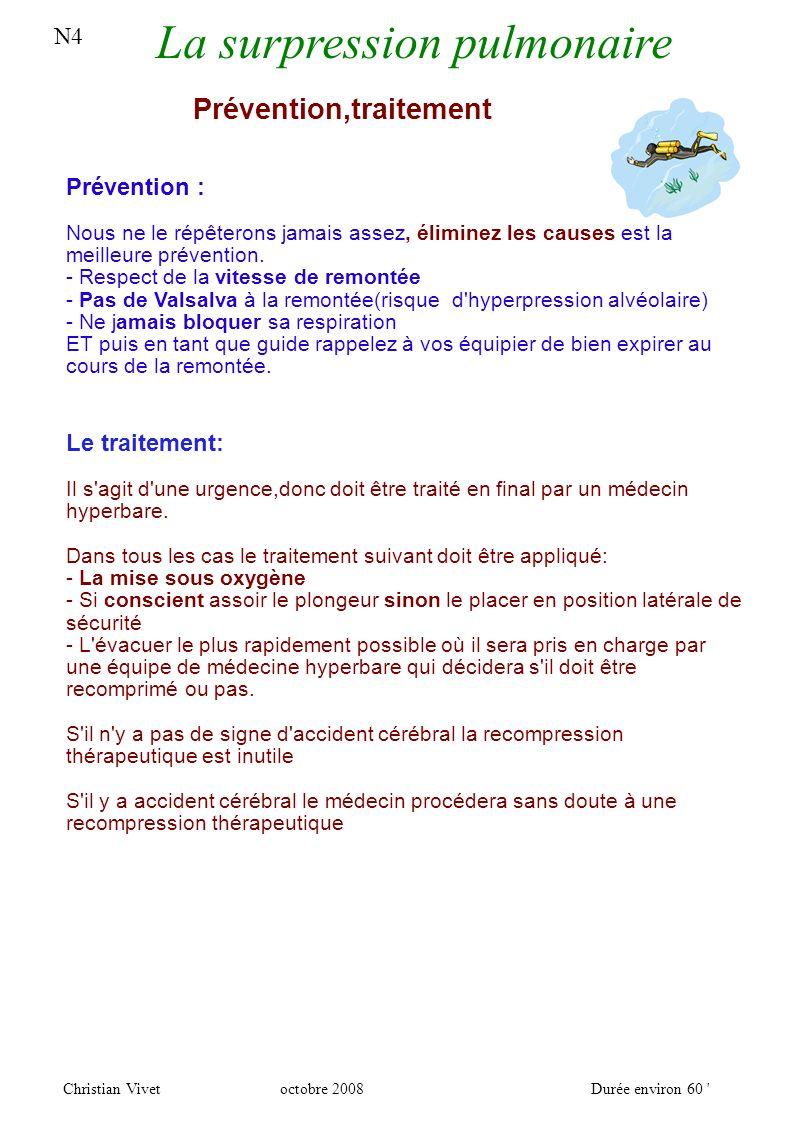 N4 La surpression pulmonaire Christian Vivetoctobre 2008Durée environ 60 Prévention,traitement Prévention : Nous ne le répêterons jamais assez, éliminez les causes est la meilleure prévention.