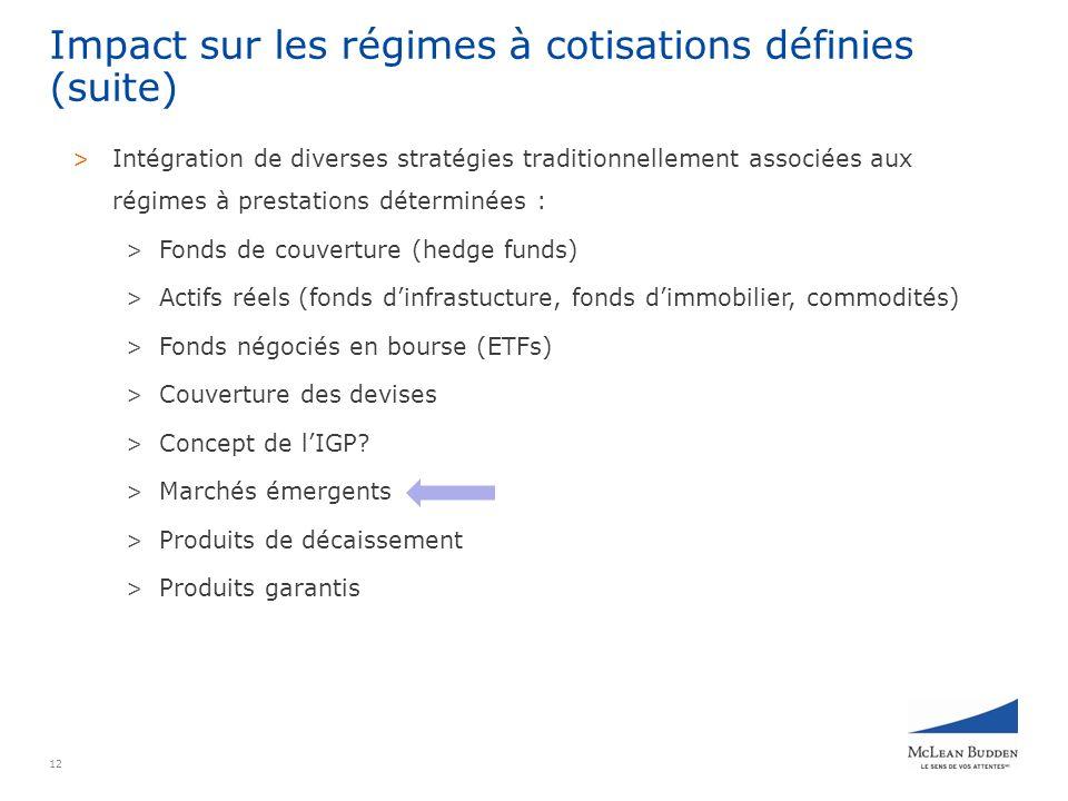 12 Impact sur les régimes à cotisations définies (suite) > Intégration de diverses stratégies traditionnellement associées aux régimes à prestations déterminées : > Fonds de couverture (hedge funds) > Actifs réels (fonds dinfrastucture, fonds dimmobilier, commodités) > Fonds négociés en bourse (ETFs) > Couverture des devises > Concept de lIGP.