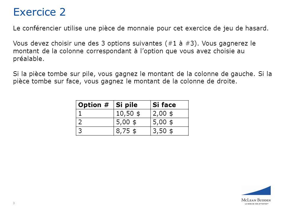4 Exercice 3 Le conférencier utilise un dé pour cet exercice de jeu de hasard.