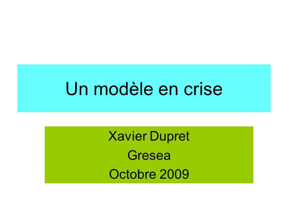 Un modèle en crise Xavier Dupret Gresea Octobre 2009