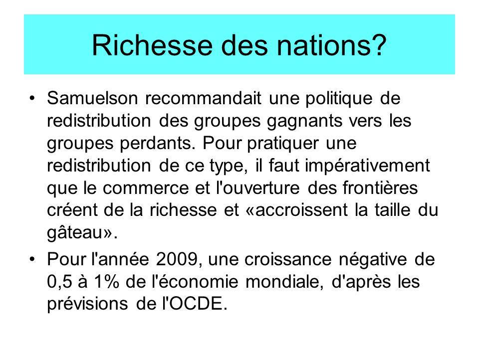 Richesse des nations? Samuelson recommandait une politique de redistribution des groupes gagnants vers les groupes perdants. Pour pratiquer une redist